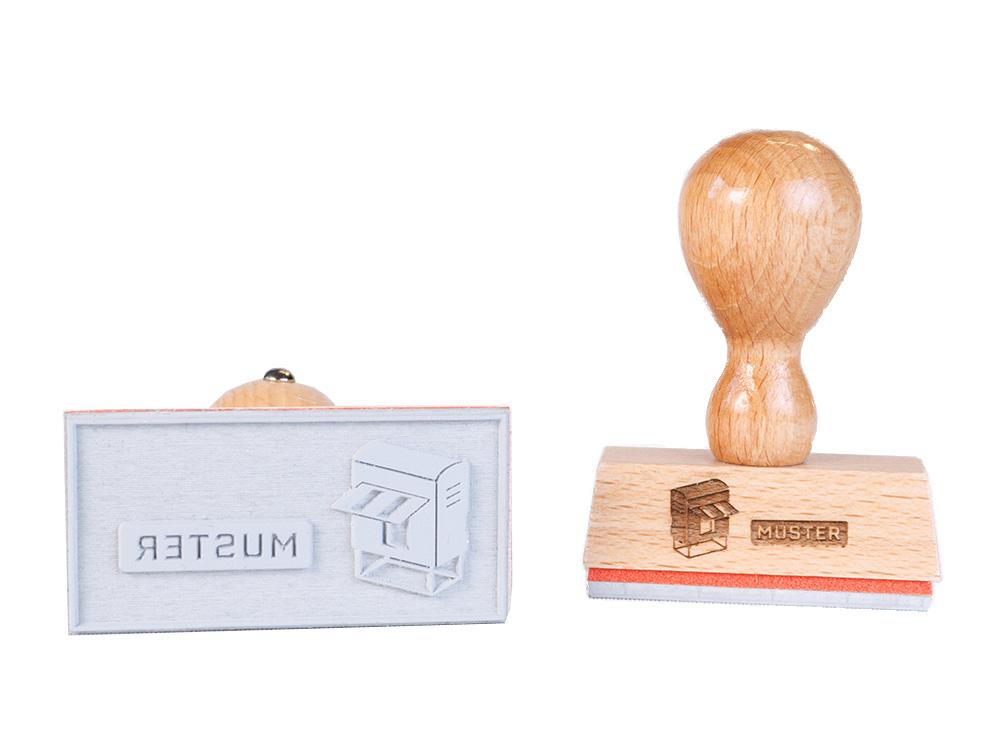 Holzstempel rund Ø 50 mm Stempel groß selber gestalten Logo möglich